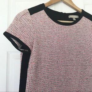 Banana republic pink black white tweed dress EUC